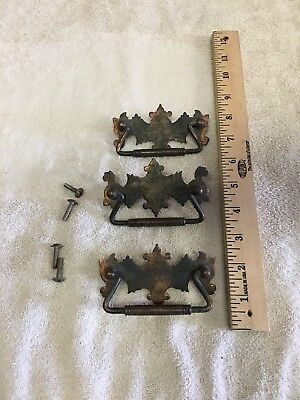 Lot Of 3 Vintage Brass Dresser Cabinet Drawer Pulls Handles Batwing Nice!
