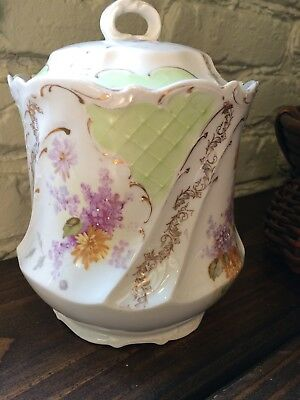 Antique White Porcelain Biscuit Jar With Lid, Floral green lavenderGold Gilding
