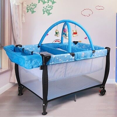 Baby Travel Cot w/ Bassinet & Change Table in Blue