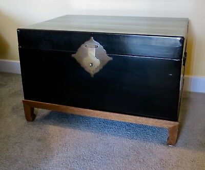 Antique Chinese Black Lacquered Leather Asian Trunk/Chest With Oak Wood Stand