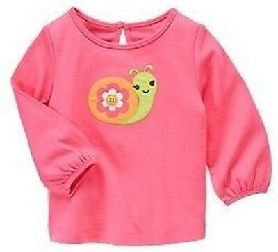 NWT Gymboree Girls Growing Flowers Pink Snail Top Size 2T