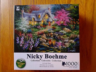 Cottage Pond 1000 Piece Puzzle Nicky Boehme Collection 27x20 New Sealed