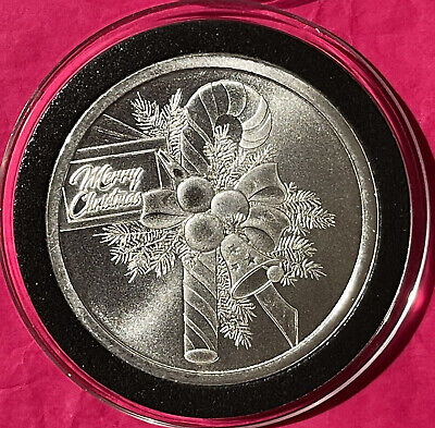 Merry Christmas Tree Proof Coin Millennium 1 Troy Oz .999 Fine Silver Round 999