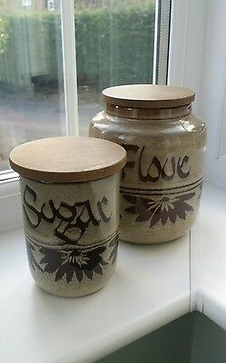 Pair of Vintage Wellhouse Studio Pottery Brixham storage jar &  Wooden Lid.