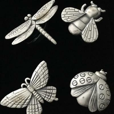 Napkin Rings Set Of 4 Different Pewter Dragonfly Butterfly Bumblebee Ladybird