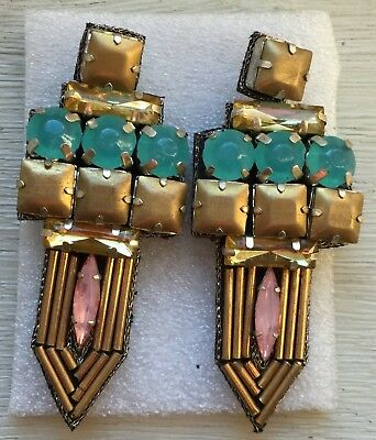 ART DECO, light weight, large, HAND MADE, brass & seaglass colored earrings