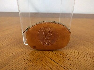 VTG Small Berlin Leather Brown Coin Pouch Purse Zipper Emblem Embroidered Retro