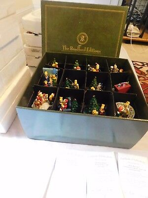 THE SIMPSONS CHRISTMAS ORNAMENTS THE BRADFORD EDITIONS LOT of 12 ORIGINAL BOX
