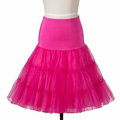 50s Vintage Rockabily Net Petticoat Skirt 26', Pink, Small/Medium (6-14)