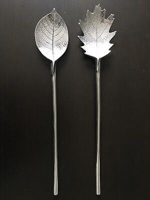 "Mariposa Aluminum 15"" Salad Servers Serving Set Spoon Fork Oak Leaves"