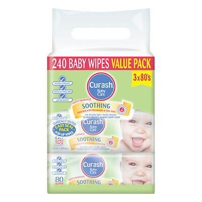 NEW Curash Nappies Wipes Soothing Baby Wipes Soft Gentle Chamomile 3 X 80Pk