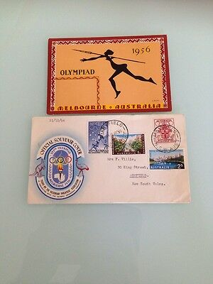 1956 - XVITH OLYMPIAD MELBOURNE Un Used Postcard And Used FDC Full Set Of Stamps