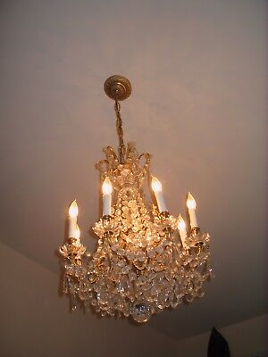 Rare opportunity Antique Italian Crystal Chandeliers SET with 2 sconces on sale