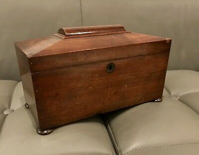 Victorian Mahogany Tea Caddy With Mixing Bowl