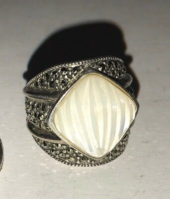 Beautiful Carved Mother of Pearl STERLING SILVER Marcasites Fancy Wide Ring Sz6