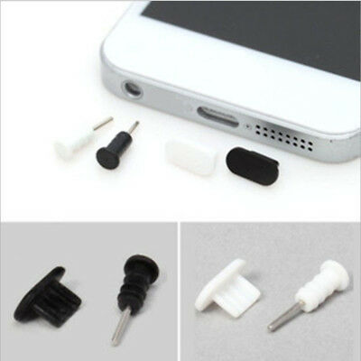Lot 10 set Black White Silicone Anti Dust Caps Earphone Plug Stopper For iPhone