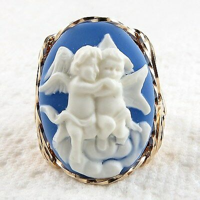 Hugging Angels Cameo Ring 14K Rolled Gold Jewelry Blue Resin Size Selectable