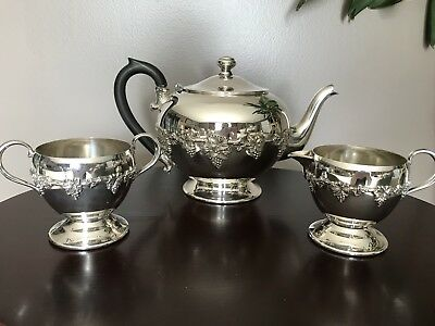 W. E Rogers Hamilton Ont Grape Pattern Footed Teapot Creamer And Sugar Dish