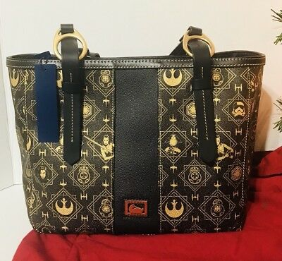 Disney Dooney And Bourke Star Wars Last Jedi Black Gold 2017 Large Tote Purse