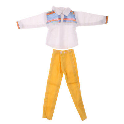 1/6 Dolls Clothes Casual Outfit for Barbie Ken Doll Check T-shirt Pants Set