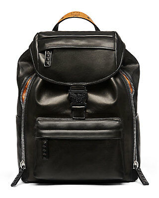 1490 Authentic Mcm Mens Black Leather Backpack School Work