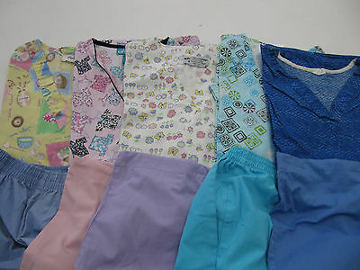 Womans Lot Of Scrub Sets, 5 Tops, 5 Pants, Very Nice     Size M  (Box 272)