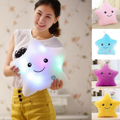 LED Colorful Stuffed Dolls Glowing Stars Plush Pillows Cushion Light Up Toy Gift