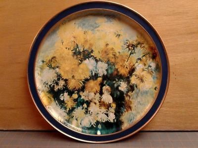 Tin Tray Sunshine Biscuits Bouquet of Chrysanthemums Round Renoir