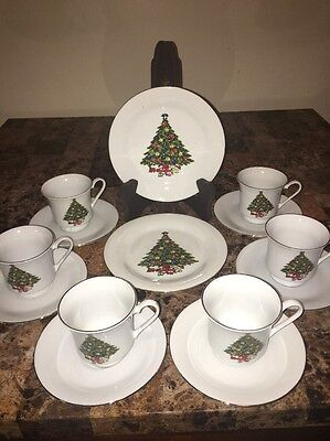 SEA GULL CHRISTMAS TREE 16 Pc Fine China Dinnerware Set Jian Shang, In Box