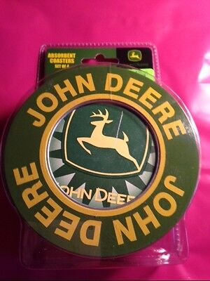John Deere Ceramic-Stone Coasters, Absorbent, Set Of 4 New In Metal Tin