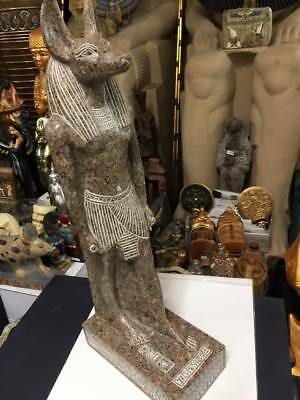 Vintage Large Heavy Egyptian  Hand Carved God Anubis  Made In Egypt