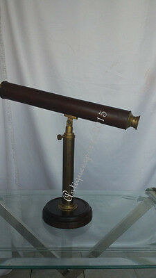 Antique Brass Telescope W Brown Base Stand Home Decor Gift Item