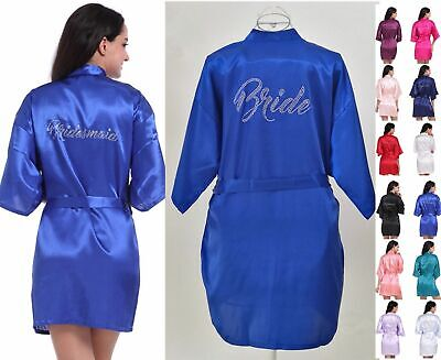 White/Royal Blue Lace Silk Satin Robe Wedding Bride Bridesmaid Kimono Bathrobe