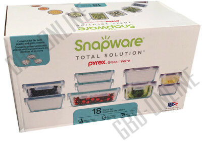 Snapware Total Solution Pyrex Glass Food Storage Containers Set 18pc Made In USA