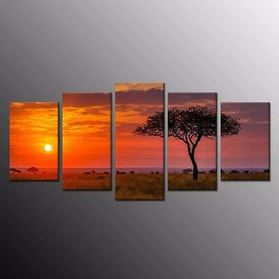 5 Panels Modern Canvas Wall Art Sunset Seaview Tree Canvas Oil Painting Prints