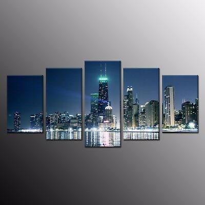 Large Canvas Wall Art Decor Busy City Scene Canvas Painting Print Picture 5pcs