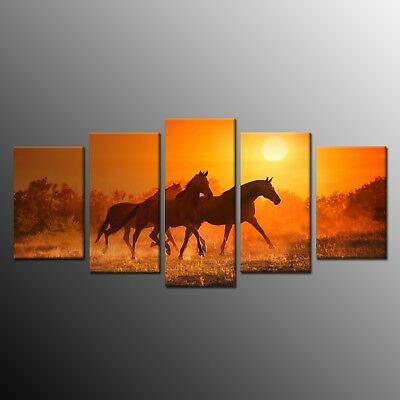 CANVAS PRINT Horse Picture Poster Modern Painting Wall Art for Home Decor 5pcs