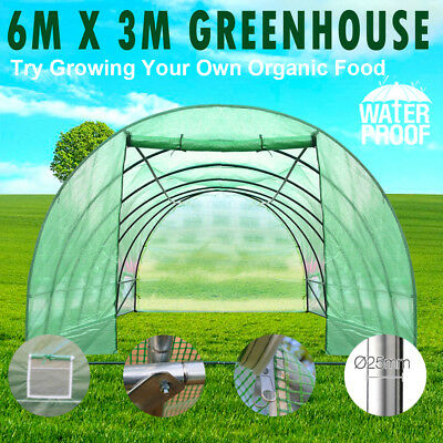 6X3X2M Greenhouse Waterproof Plant Shed PE Cover Arch Roof Tunnel Large Walk In