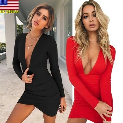 Sexy Women Backless Deep V-Neck Bandage Bodycon Short Mini Dress Party Club Lady