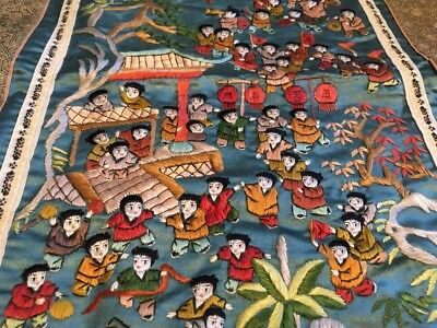 Beautiful Chinese silk embroidered panel lovely colours People Children Playing