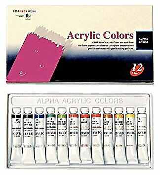 Acrylic Paint Set for Beginners, Students or Artists - 12 Vivid Colors(7.5ml Eac