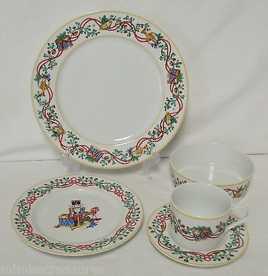 5pc Block Spal Whimsy Christmas Place Setting Dinner Plate Bowl Cup Saucer China