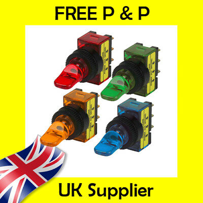 Toggle Switch Duckbill Illuminated 12VDC SPST ON OFF Choice of Colours Duck Bill