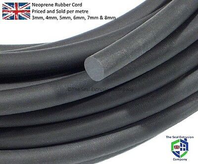 Neoprene Sponge Cord Black Foam Rubber Closed Cell 3mm,4mm,5mm,6mm,8mm,10mm