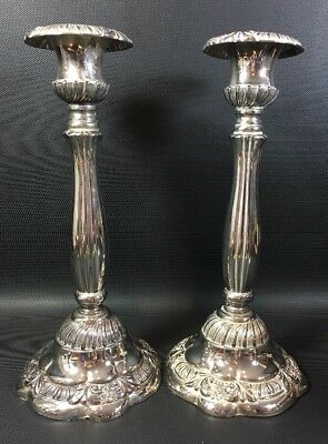 Pair Of Godinger Silver Plated Candle Sticks Holders 12X