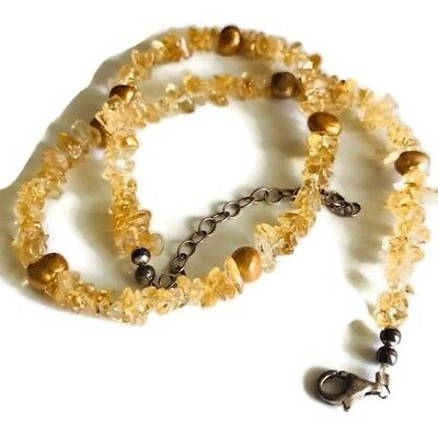 Vintage Citrine Chips Silver clasp Beaded Adjustable Necklace Stamped 925
