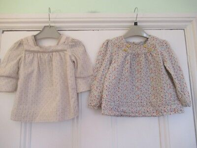 18-24m: 2 pretty tops/blouses: Floral/ Beige spotty: Baby Gap/ Mothercare