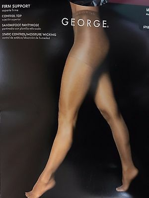 2 George Firm Support Control Top Sandalfoot Pantyhose #4898