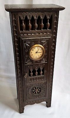 Antique Miniature French Breton Novelty Wooden Grandfather Clock Carved Chestnut