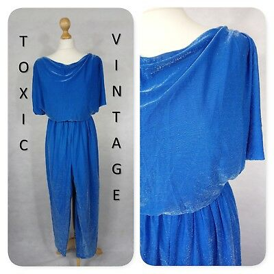 VINTAGE 1970's BLUE METALLIC THREAD JUMPSUIT. UK SIZE 12. RETRO, DISCO, PARTY
